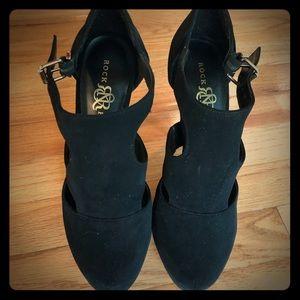 Velvet platform heels size 7.5